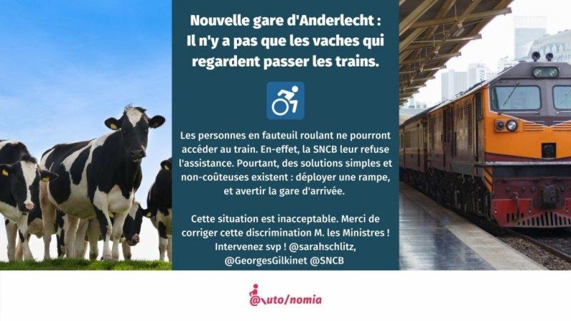 Les personnes à mobilité réduite ne peuvent pas embarquer à Anderlecht, toute nouvelle gare SNCB !