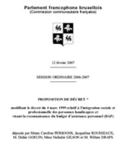 Proposition de décret reconnaissant le BAP à la Cocof