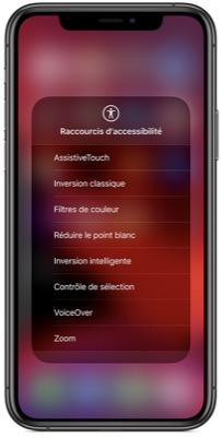 Accessibilité iOS - Raccourcis d'accessibilité